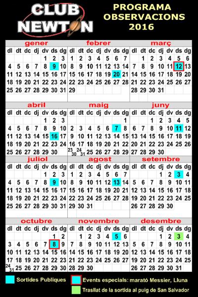 Calendari de sortides 2016