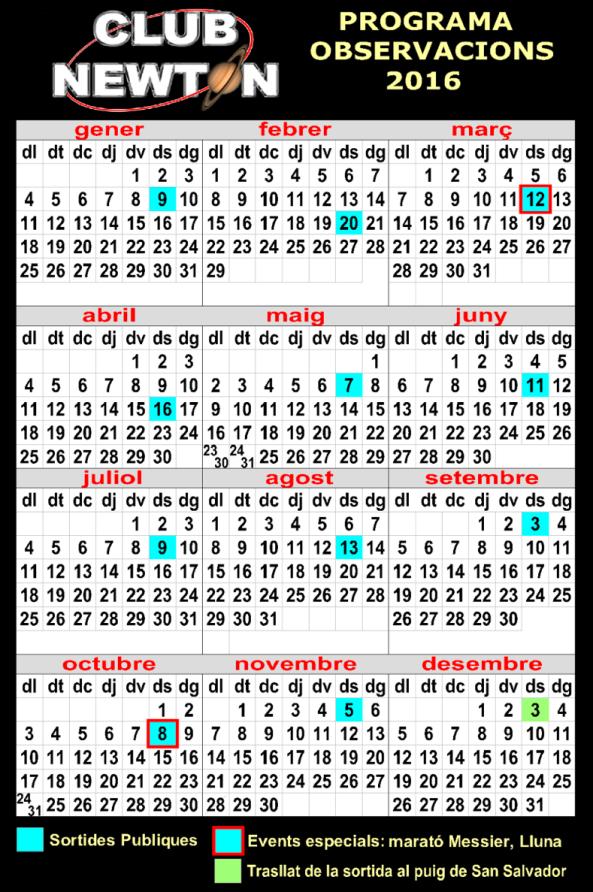 Calendari Observacions Publiques 2016