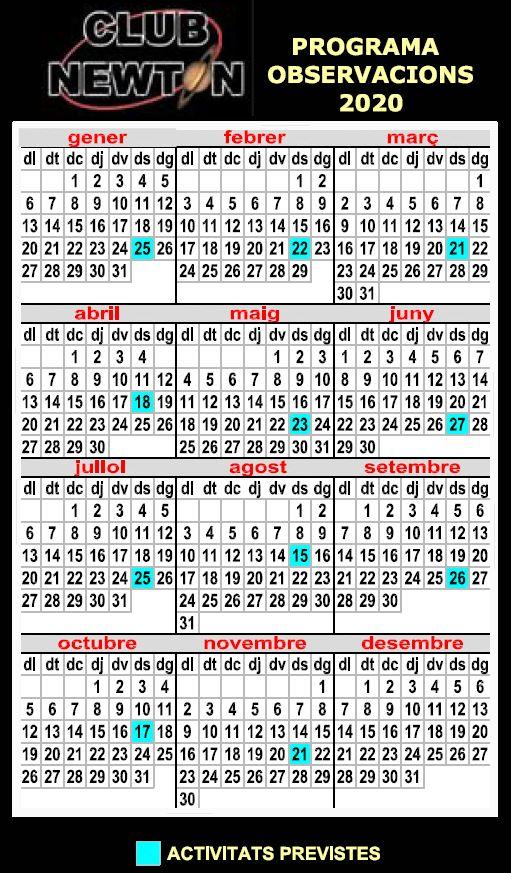 calendari nou newton